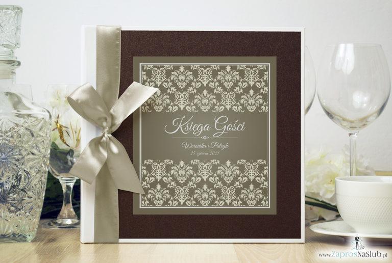 Bardzo elegancka księga gości z brązowo-kremowym ornamentem barokowym brązowym papierem perłowym. KSG-10016 - ZaprosNaSlub