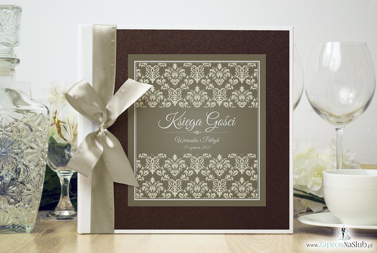 Bardzo elegancka księga gości z brązowo-kremowym ornamentem barokowym brązowym papierem perłowym. KSG-10016