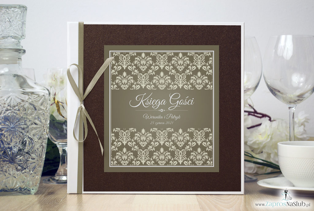 Bardzo elegancka księga gości z brązowo-kremowym ornamentem barokowym brązowym papierem perłowym ksg10016-6