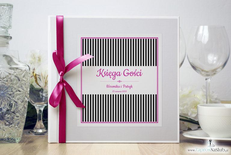 Bardzo elegancka księga gości z czarno-białymi paskami, różowymi elementami, papierem biały ryps. KSG-10014 - ZaprosNaSlub