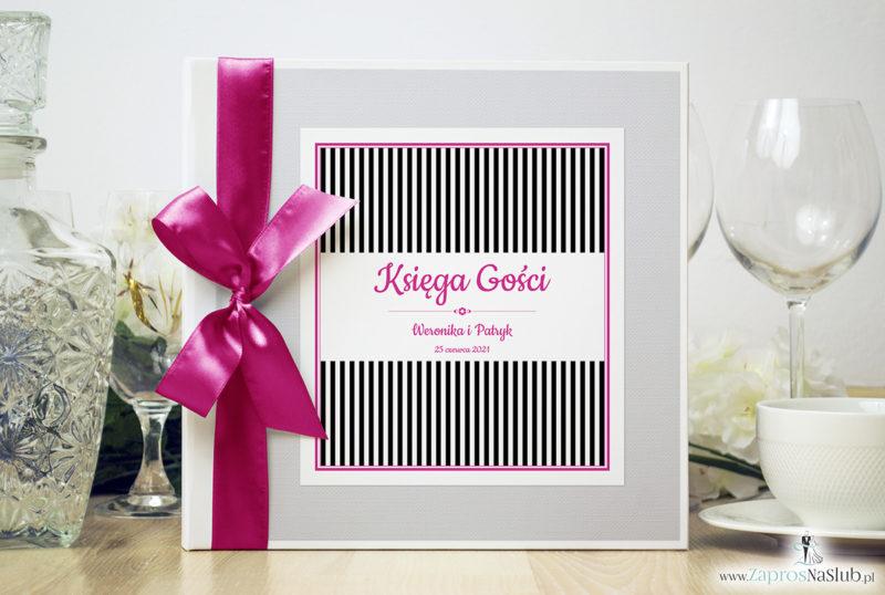 Bardzo elegancka księga gości z czarno-białymi paskami, różowymi elementami, papierem biały ryps ksg10014-25