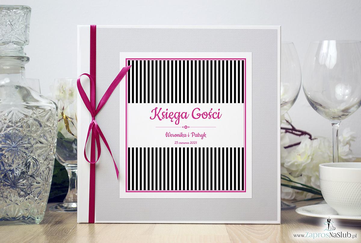 Bardzo elegancka księga gości z czarno-białymi paskami, różowymi elementami, papierem biały ryps. KSG-10014