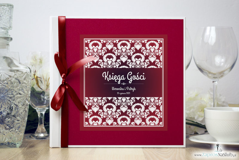 Bardzo elegancka księga gości z czerwono-białym ozdobnym ornamentem, czerwonym papierem perłowym ksg10018-12