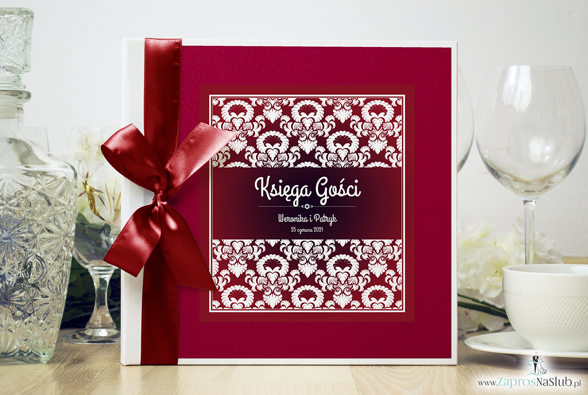 Bardzo elegancka księga gości z czerwono-białym ozdobnym ornamentem, czerwonym papierem perłowym. KSG-10018