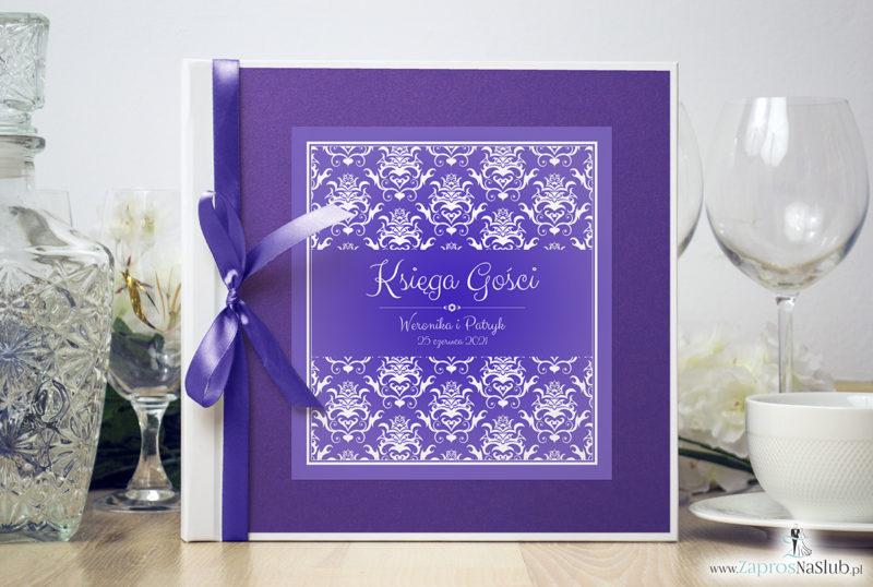 Bardzo elegancka księga gości z fioletowo-białym ozdobnym damaskiem, fioletowym papierem perłowym ksg10021-12