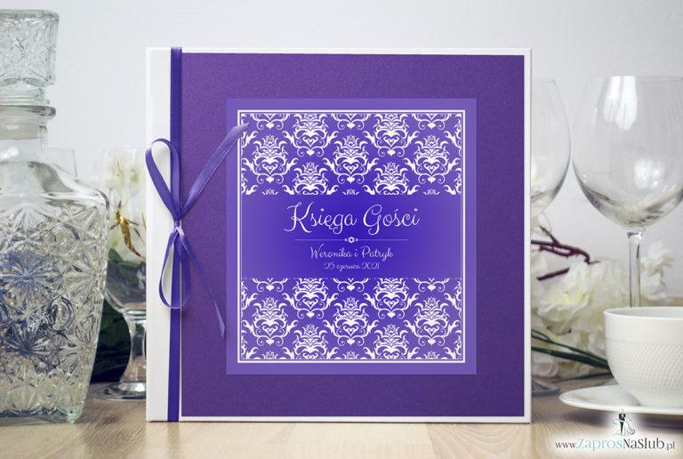 Bardzo elegancka księga gości z fioletowo-białym ozdobnym damaskiem, fioletowym papierem perłowym ksg10021-6