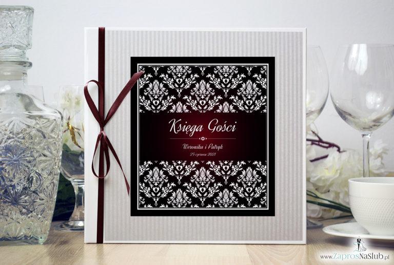 Bardzo elegancka księga gości z karminowym florystycznym damaskiem, papierem w paski ksg10012-6