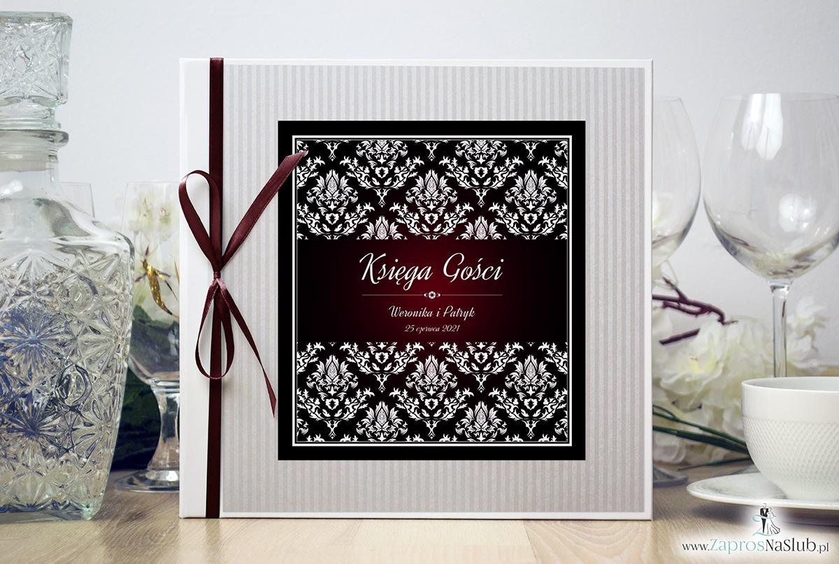 Bardzo elegancka księga gości z karminowym florystycznym damaskiem, papierem w paski. KSG-10012
