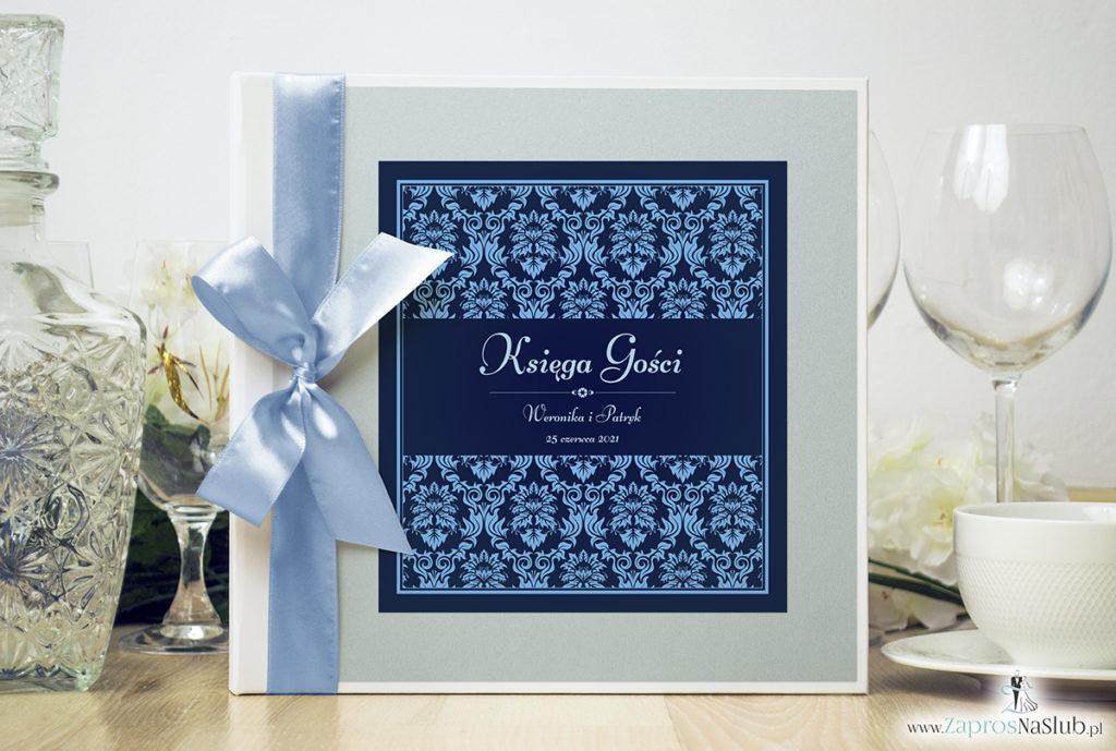 Bardzo elegancka księga gości z niebieskim motywem barokowym, błękitnym papierem perłowym ksg10011-25