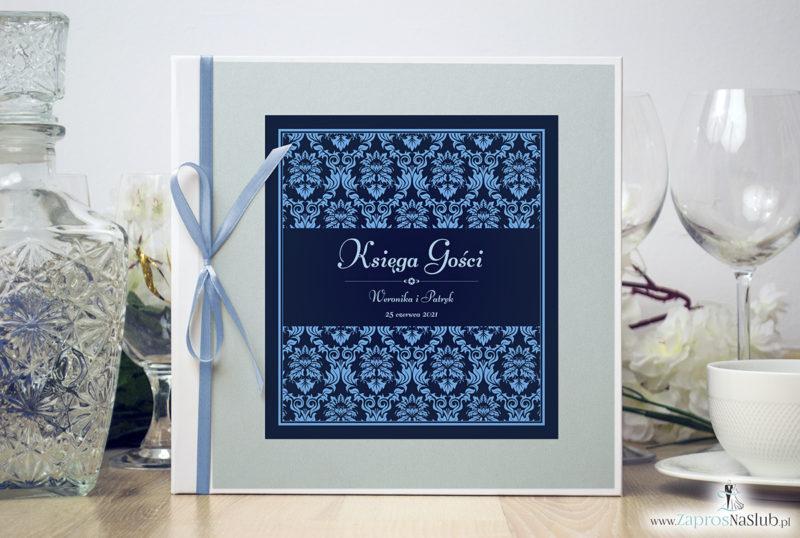Bardzo elegancka księga gości z niebieskim motywem barokowym, błękitnym papierem perłowym ksg10011-6