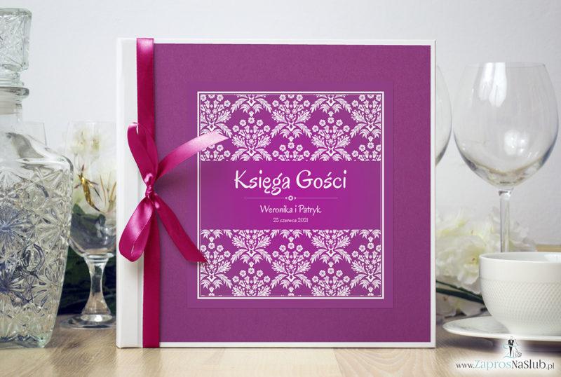 Bardzo elegancka księga gości z różowo-białym motywem florystycznym, różanym papierem perłowym ksg10010-12