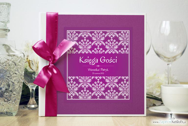 Bardzo elegancka księga gości z różowo-białym motywem florystycznym, różanym papierem perłowym. KSG-10010 - ZaprosNaSlub