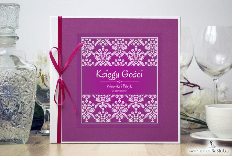 Bardzo elegancka księga gości z różowo-białym motywem florystycznym, różanym papierem perłowym ksg10010-6