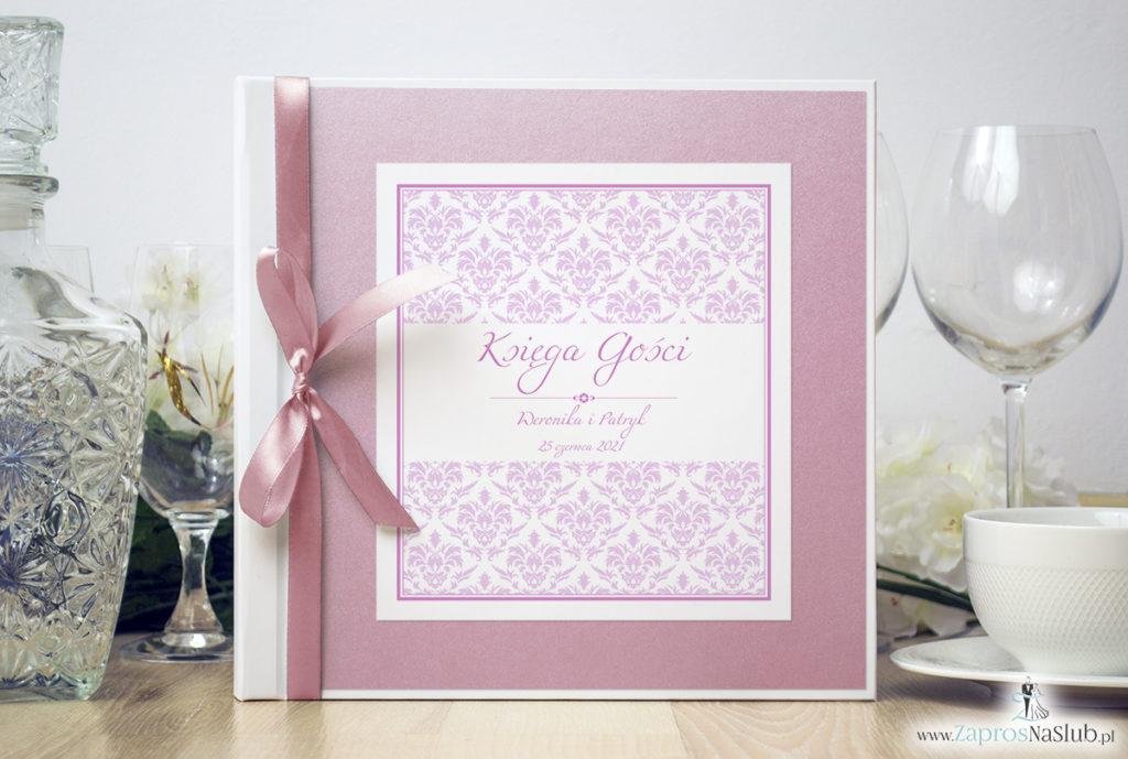 Bardzo elegancka księga gości z różowym barokowym damaskiem, różowym papierem perłowym ksg10019-12