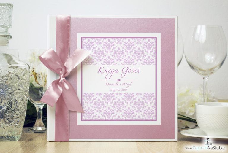 Bardzo elegancka księga gości z różowym barokowym damaskiem, różowym papierem perłowym. KSG-10019 - ZaprosNaSlub