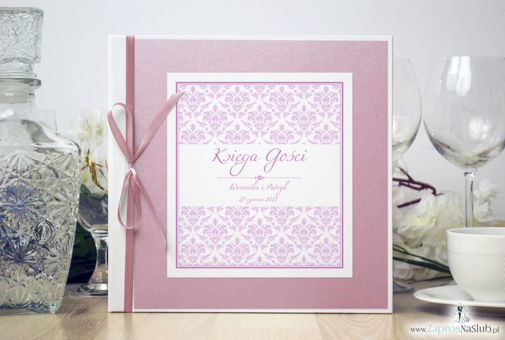 Bardzo elegancka księga gości z różowym barokowym damaskiem, różowym papierem perłowym ksg10019-6