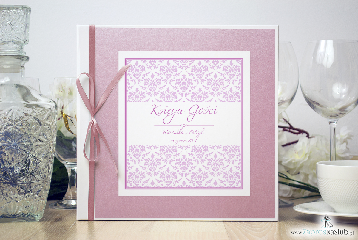 Bardzo elegancka księga gości z różowym barokowym damaskiem, różowym papierem perłowym. KSG-10019