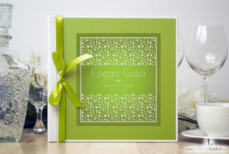 Bardzo elegancka księga gości z zielono-białym motywem roślinnym, zielonym papierem perłowym. KSG-10013 - ZaprosNaSlub