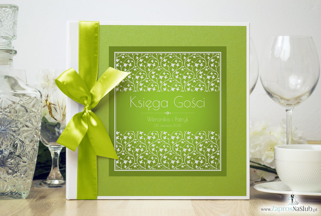 Bardzo elegancka księga gości z zielono-białym motywem roślinnym, zielonym papierem perłowym ksg10013-25