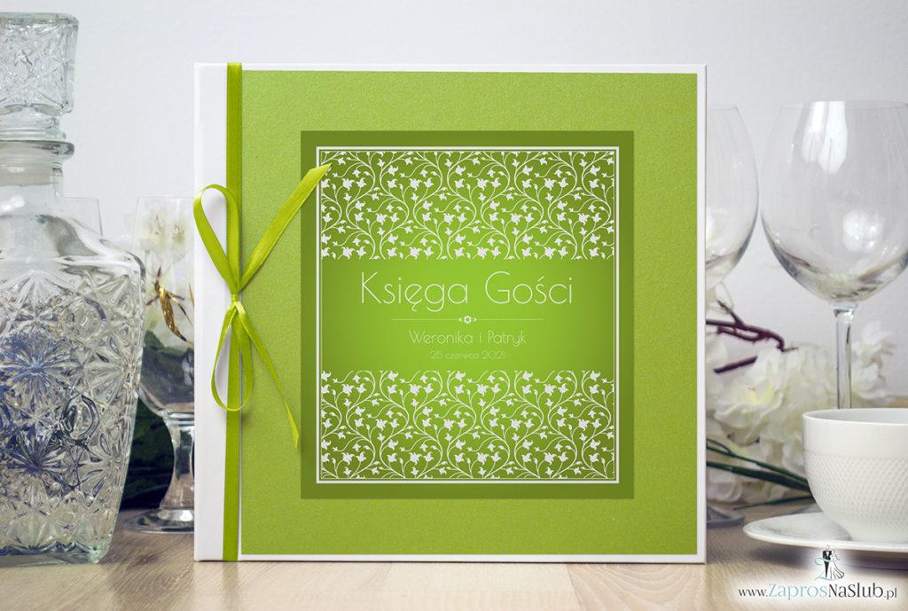Bardzo elegancka księga gości z zielono-białym motywem roślinnym, zielonym papierem perłowym ksg10013-6