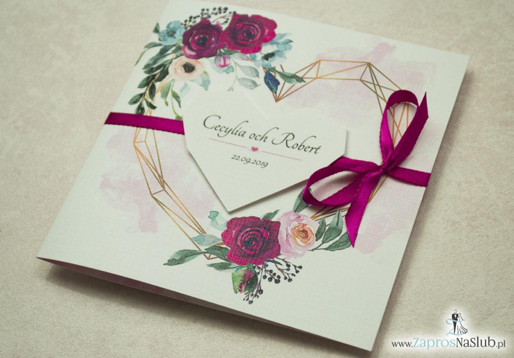 Modne zaproszenia ślubne z geometrycznym sercem oraz bordowymi i różowymi różami. ZAP-41-06 - zaprosnaslub.pl (2)