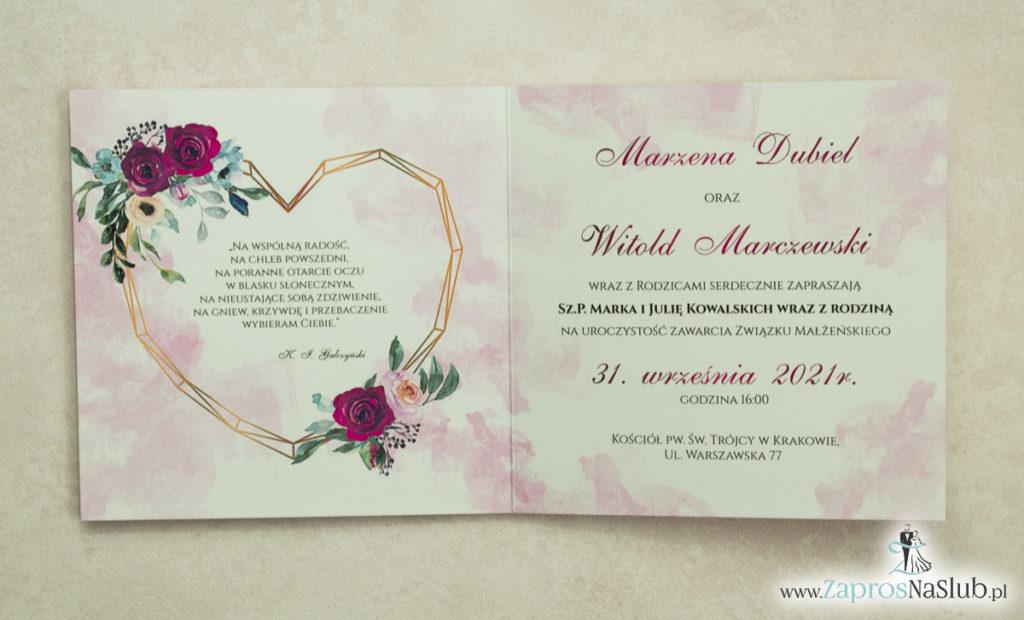 Modne zaproszenia ślubne z geometrycznym sercem oraz bordowymi i różowymi różami. ZAP-41-06 - zaprosnaslub.pl kolorowe wnętrze
