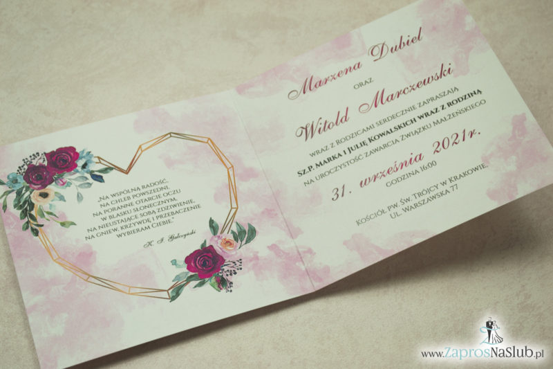 Modne zaproszenia ślubne z geometrycznym sercem oraz bordowymi i różowymi różami. ZAP-41-06 - zaprosnaslub.pl kwadratowe
