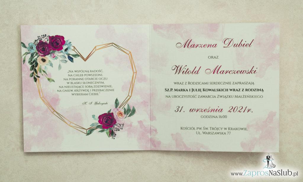 Modne zaproszenia ślubne z geometrycznym sercem oraz bordowymi i różowymi różami. ZAP-41-06 - zaprosnaslub.pl kwiatowe geometryczne