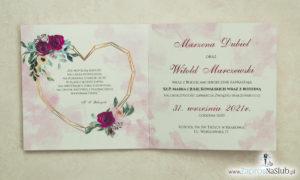 Modne zaproszenia ślubne z geometrycznym sercem oraz bordowymi i różowymi różami. ZAP-41-06