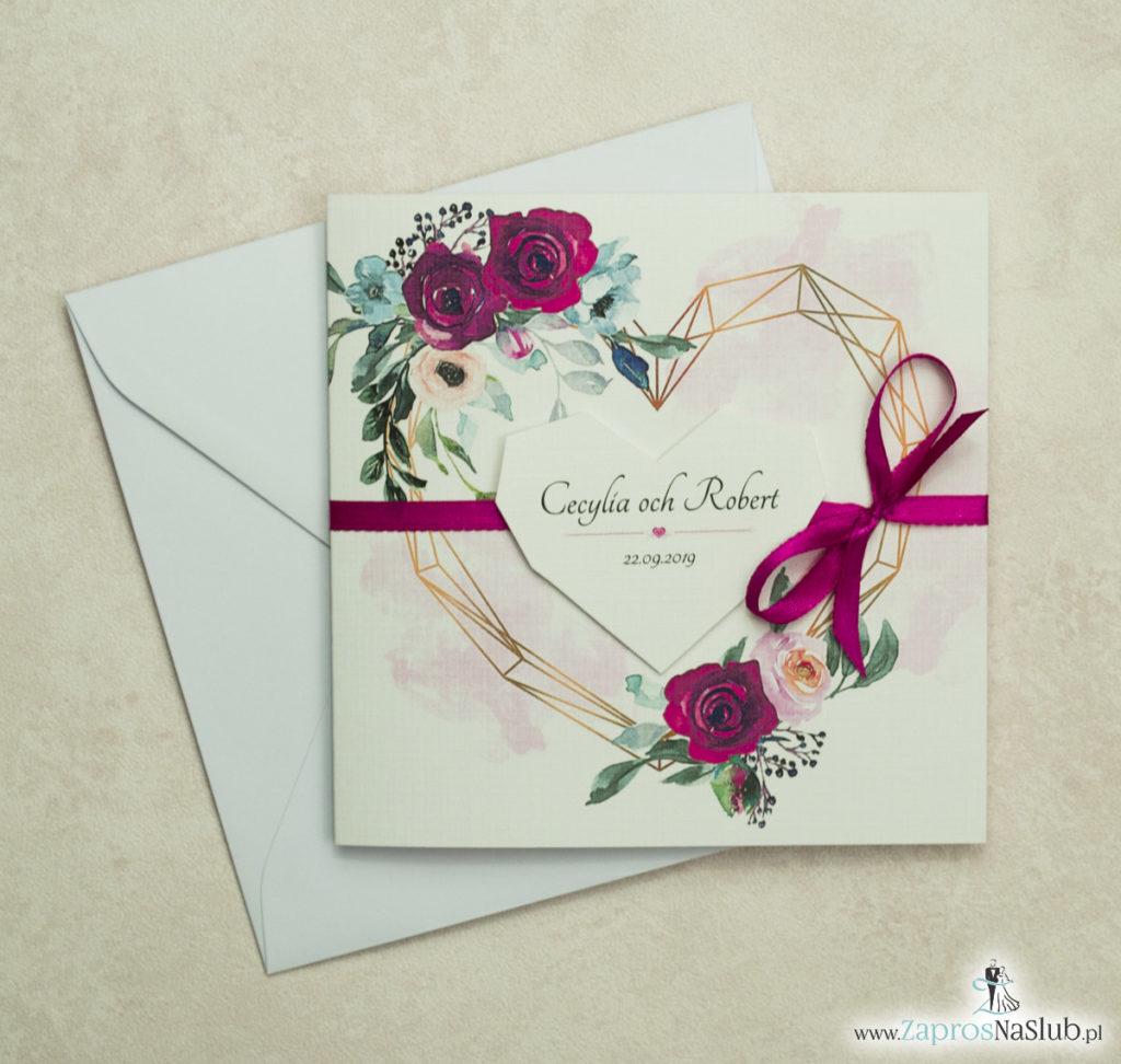 Modne zaproszenia ślubne z geometrycznym sercem oraz bordowymi i różowymi różami. ZAP-41-06 - zaprosnaslub.pl malowane