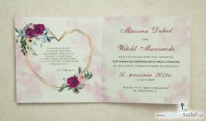 Modne zaproszenia ślubne z geometrycznym sercem oraz bordowymi i różowymi różami. ZAP-41-06 - zaprosnaslub.pl nowoczesne