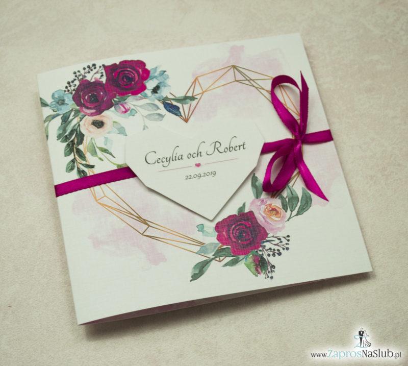 Modne zaproszenia ślubne z geometrycznym sercem oraz bordowymi i różowymi różami. ZAP-41-06 - zaprosnaslub.pl różowe