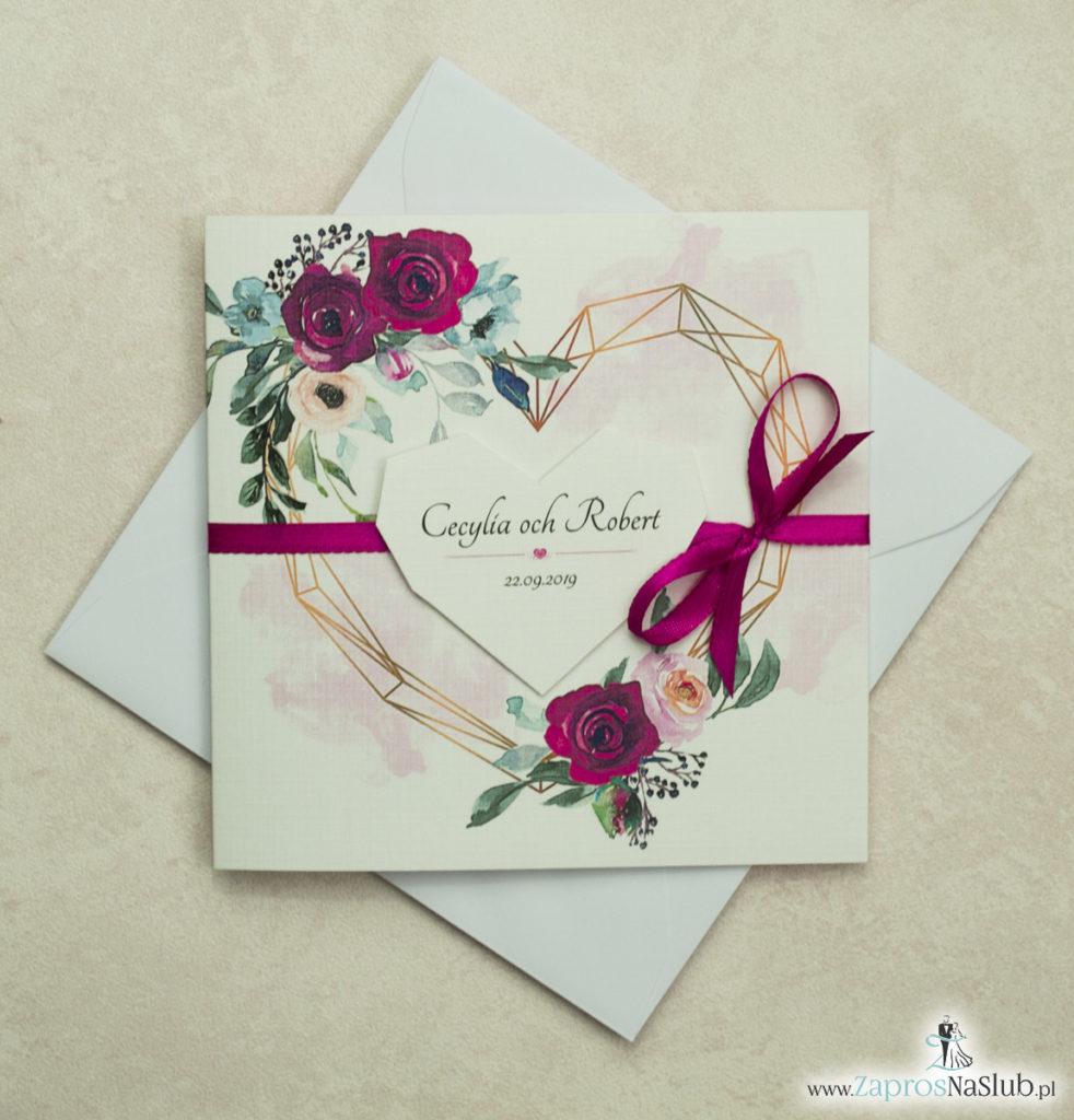 Modne zaproszenia ślubne z geometrycznym sercem oraz bordowymi i różowymi różami. ZAP-41-06 - zaprosnaslub.pl serce naklejane