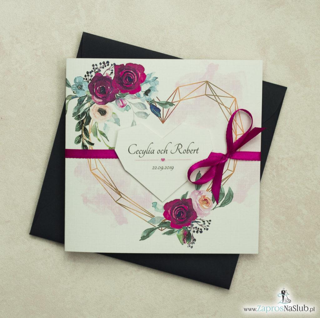 Modne zaproszenia ślubne z geometrycznym sercem oraz bordowymi i różowymi różami. ZAP-41-06 - zaprosnaslub.pl zaproszenia 2020