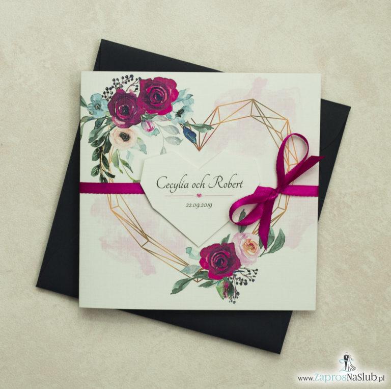 Modne zaproszenia ślubne z geometrycznym sercem