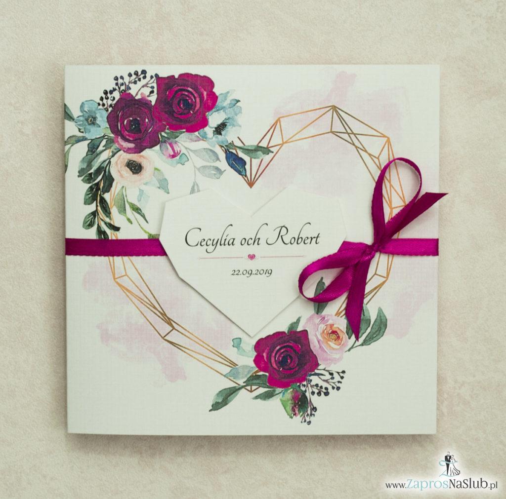 Modne zaproszenia ślubne z geometrycznym sercem oraz bordowymi i różowymi różami. ZAP-41-06 - zaprosnaslub.pl zaproszenia geometryczne