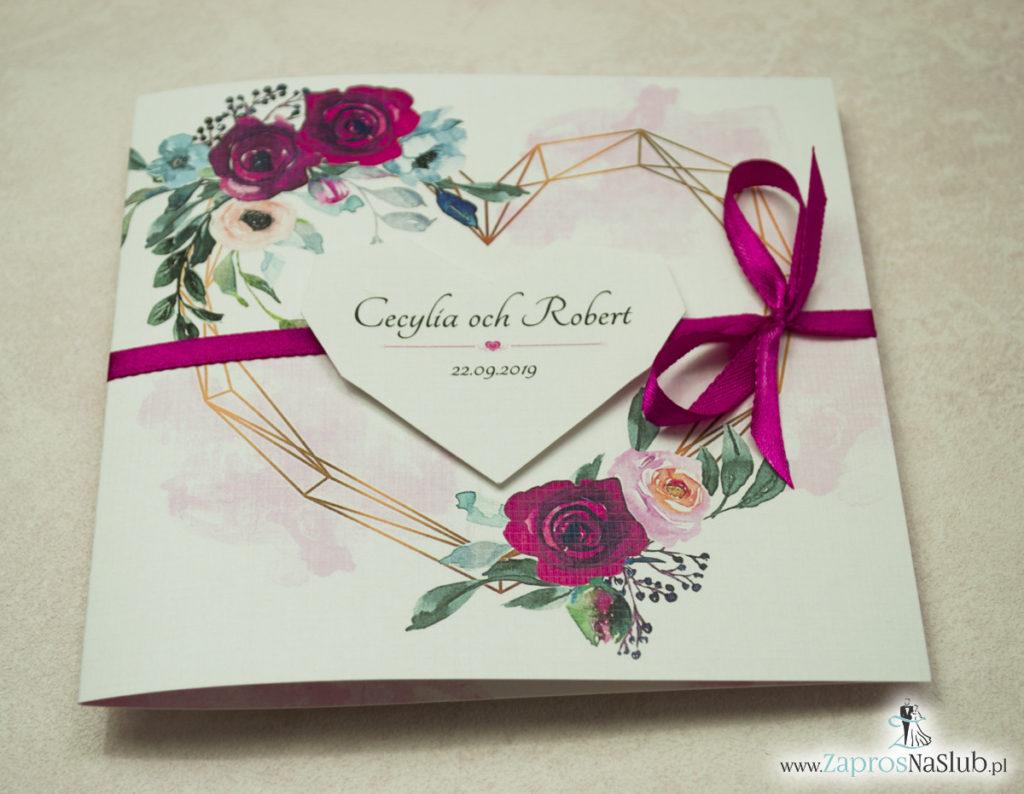 Modne zaproszenia ślubne z geometrycznym sercem oraz bordowymi i różowymi różami. ZAP-41-06 - zaprosnaslub.pl zaproszenia na ślub 2020