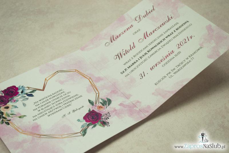 Modne zaproszenia ślubne z geometrycznym sercem oraz bordowymi i różowymi różami. ZAP-41-06 - zaprosnaslub.pl zaproszenia na ślub
