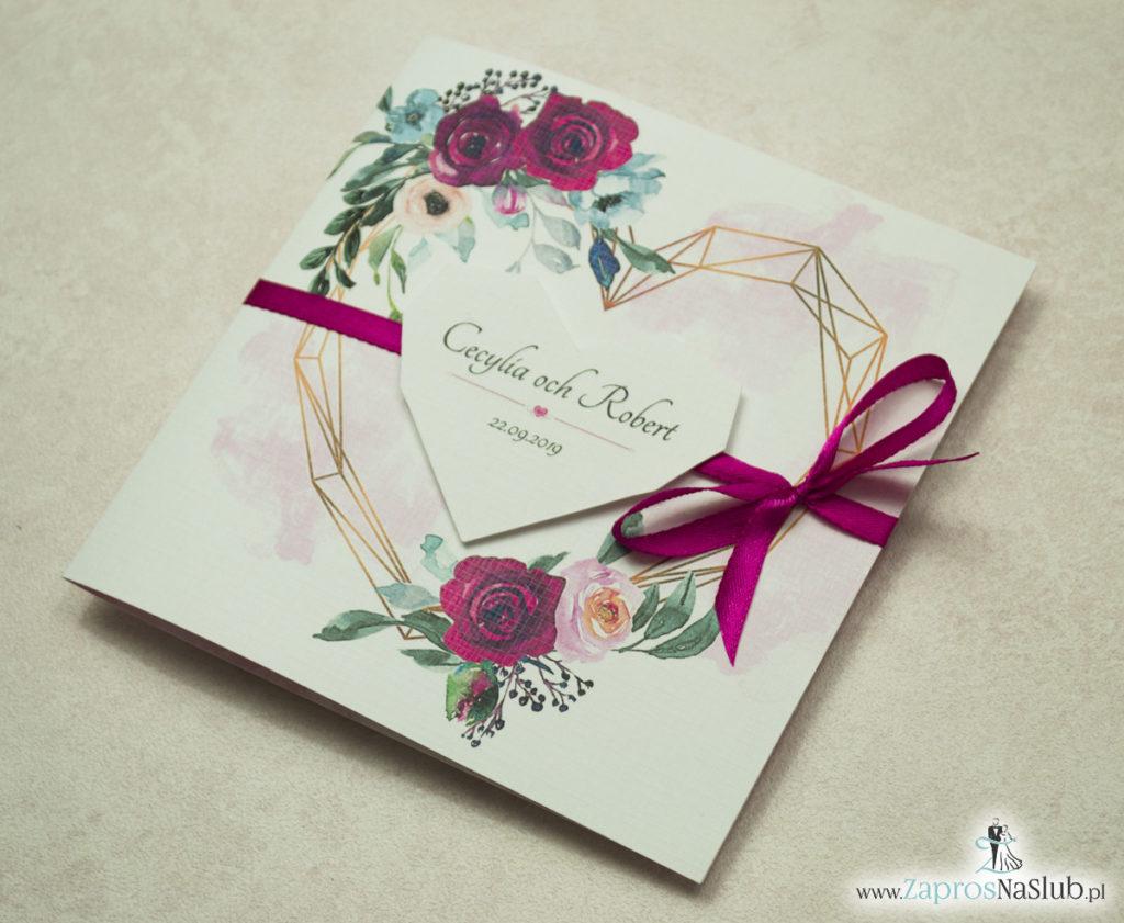 Modne zaproszenia ślubne z geometrycznym sercem oraz bordowymi i różowymi różami. ZAP-41-06 - zaprosnaslub.pl zaproszenia serce geometryczne