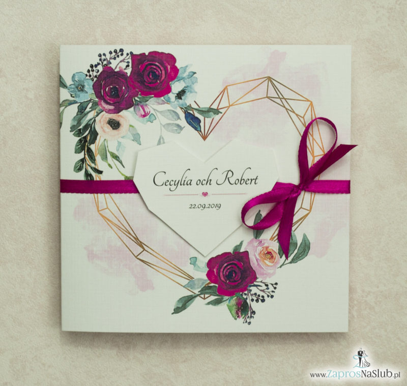 Modne zaproszenia ślubne z geometrycznym sercem oraz bordowymi i różowymi różami. ZAP-41-06 - zaprosnaslub.pl