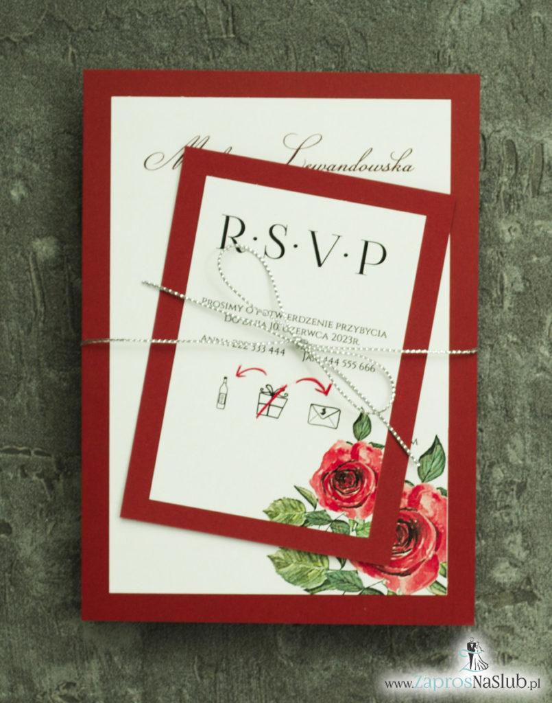 ZAP-30-01 Modne zaproszenia ślubne bordowe z różami - zaprosnaslub.pl 2 częściowe