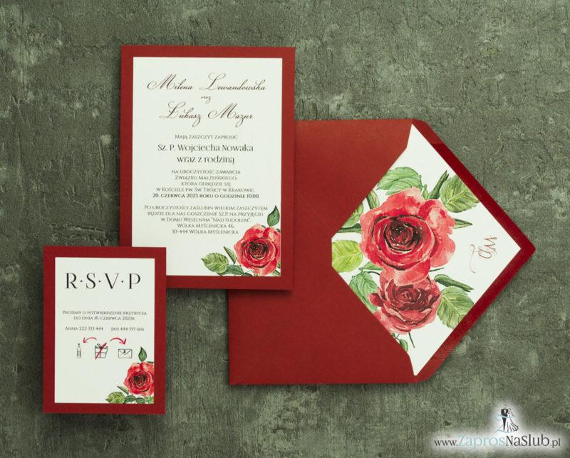ZAP-30-01 Modne zaproszenia ślubne bordowe z różami - zaprosnaslub.pl 2 częściowe RSVP
