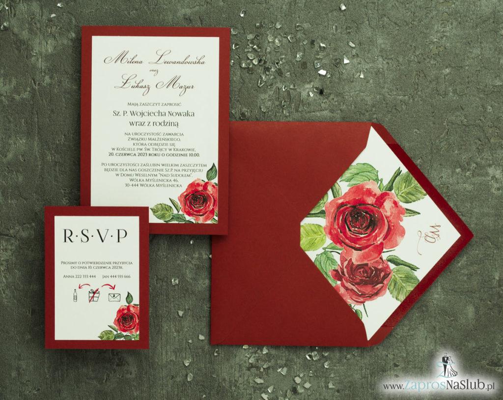 ZAP-30-01 Modne zaproszenia ślubne bordowe z różami - zaprosnaslub.pl bordowa koperta zaproszenia na ślub wkładka
