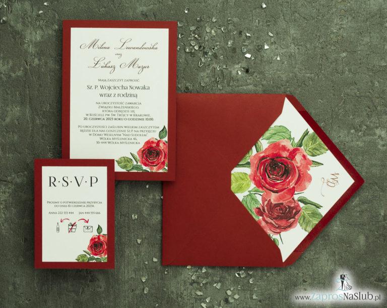 Modne zaproszenia ślubne bordowe z różami