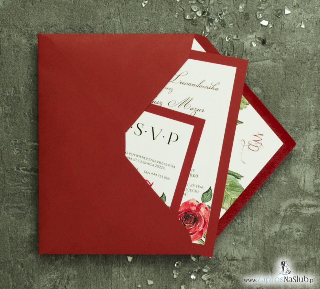 ZAP-30-01 Modne zaproszenia ślubne bordowe z różami - zaprosnaslub.pl komplet z koperta i wkładką
