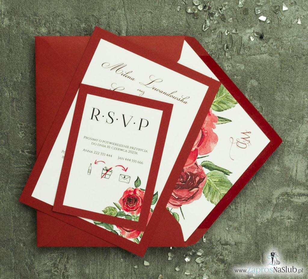 ZAP-30-01 Modne zaproszenia ślubne bordowe z różami - zaprosnaslub.pl kwiaty róży czerwone z liśćmi