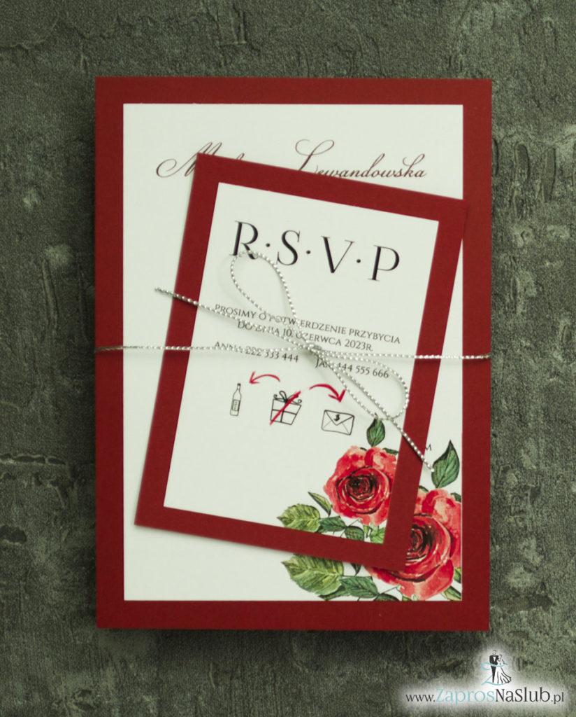 ZAP-30-01 Modne zaproszenia ślubne bordowe z różami - zaprosnaslub.pl srebrny sznurek metalizowany