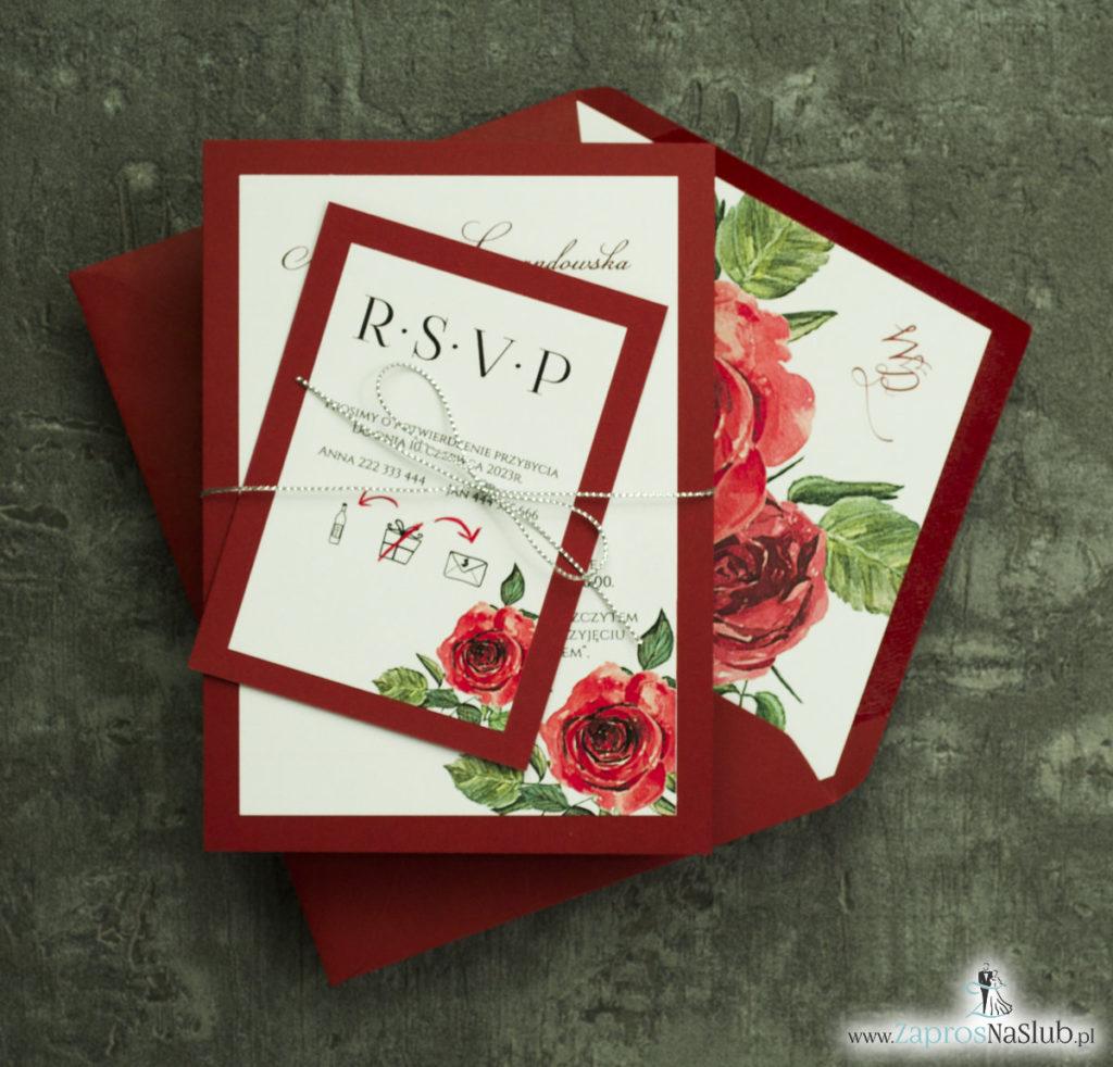 ZAP-30-01 Modne zaproszenia ślubne bordowe z różami - zaprosnaslub.pl wklejki do koperty