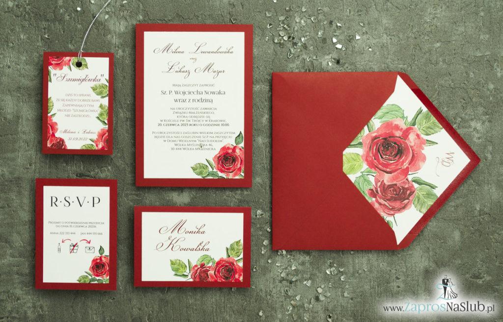 ZAP-30-01 Modne zaproszenia ślubne bordowe z różami - zaprosnaslub.pl zaproszenia 2020 eleganckie kwiatowe