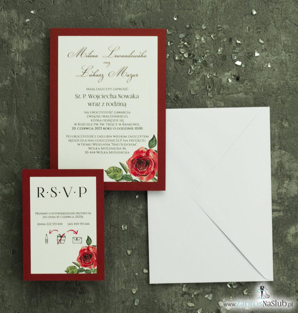 ZAP-30-01 Modne zaproszenia ślubne bordowe z różami - zaprosnaslub.pl zaproszenia modne kwiatowe